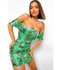 oriëntaalse jacquard mini jurk met open schouders, green