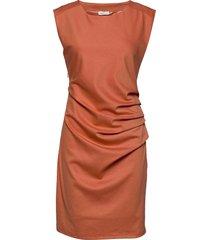 india round-neck dress knälång klänning orange kaffe
