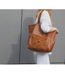 duża brązowa koniakowa skórzana torba na ramę