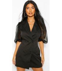 petite organza blazer jurk met volle mouwen, black