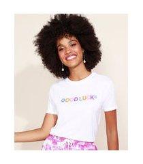 "blusa de moletinho feminina good luck"" manga curta decote redondo branca"""