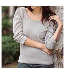 cotton knit top, 'cuzco smoke empress' (peru)