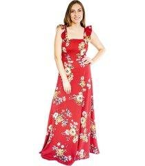 vestido mercedes largo flores rojo natalia seguel