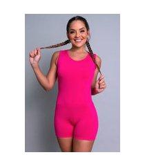 macaquinho mvb modas liso suplex fitness academia ginástica curto rosa
