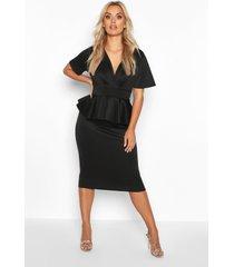 peplum midi-jurk en overslag aan de voorkant, zwart