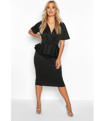 plus peplum midi wikkel jurk, zwart