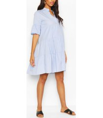 maternity tiered cotton smock dress, pale blue