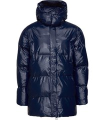 puffer hooded coat gevoerd jack blauw rains