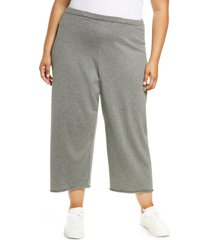 eileen fisher organic cotton crop wide leg pants, size 3x in moon at nordstrom