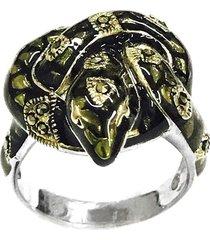 anel prata mil cobra de prata c/ marcassita prata