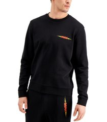 hugo boss men's flame logo sweatshirt in black, created for macy's