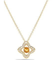women's david yurman venetian quatrefoil necklace with diamonds in 18k gold
