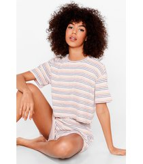 womens got the stripe idea ribbed pajama shorts set - white