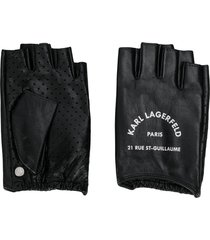 karl lagerfeld rue st guillaume fingerless gloves - black
