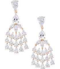crystal & goldtone chandelier earrings