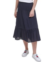 tommy hilfiger cotton tiered midi skirt