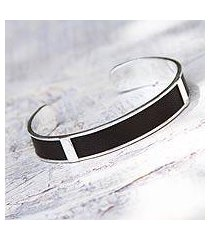 leather cuff bracelet, 'leather minimalist' (peru)
