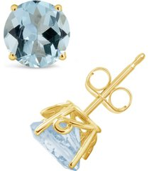 aquamarine (2-1/2 ct. t.w.) stud earrings in 14k yellow gold