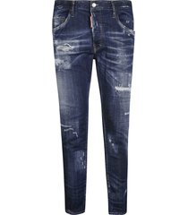 dsquared2 logo patch destroyed jeans