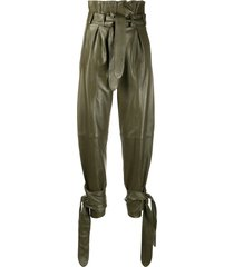 the attico tie fastened tapered trousers - green