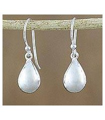 sterling silver dangle earrings, 'reflective drops' (thailand)