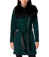 via spiga petite asymmetrical faux-fur-collar coat, created for macy's