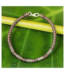 silver accent wristband bracelet, 'beautiful jungle in taupe' (thailand)
