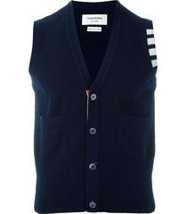 thom browne sleeveless buttoned cardigan - blue