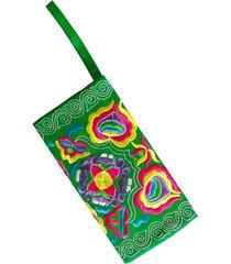 estuche de mano bordado color verde amme multicolor