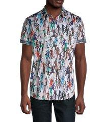 robert graham men's trixie printed short-sleeve shirt - white multi - size xl