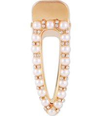 guess gold-tone pave & imitation pearl hair clip