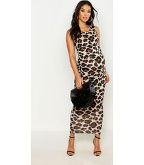 maternity leopard print basic maxi dress, brown