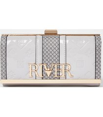 river island womens grey embossed clip top purse