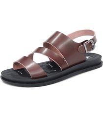 sandali da spiaggia in pelle con fibbia metallica in pelle microfibra da uomo