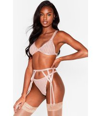 womens strappy 3-pc lingerie set in triangle silhouette - mocha