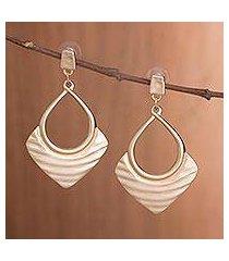 gold plated dangle earrings, 'draped elegance in gold' (peru)