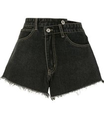 ground zero wrap front denim shorts - black