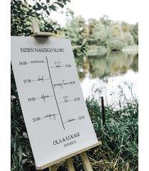 plan dnia ślubu - tablica