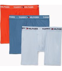tommy hilfiger men's everyday microfiber boxer brief 3pk grey/blue/tomato - m