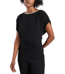 msk petite beaded-neck ruched-waist top