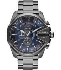 diesel men's chronograph mega chief gunmetal ion-plated stainless steel bracelet watch 59x51mm dz4329