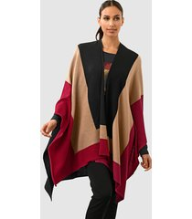 poncho alba moda antracitgrå::kamel::röd