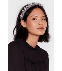 womens woven you wrong pearl embellished headband - black