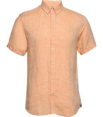 douglas ss linen shirt kortärmad skjorta orange morris