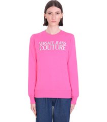 versace jeans couture sweatshirt in rose-pink cotton