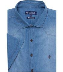camisa dudalina jeans pala frontal essentials masculina (jeans medio, 7)