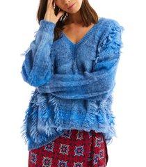 allison new york women's tie dye fringe sweater