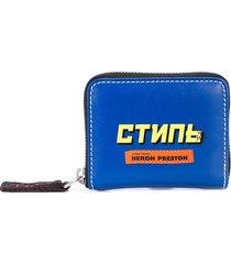 heron preston logo print zip wallet - blue