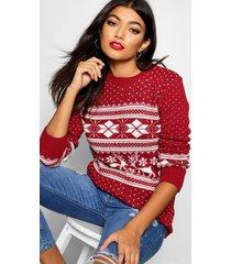 fairisle snowflake reindeer christmas sweater, wine