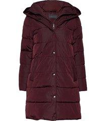 coats woven gevoerde lange jas rood esprit collection